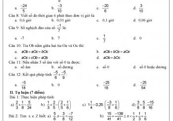 Đề cương ôn tập toán 6 học kì 2 đầy đủ nhất