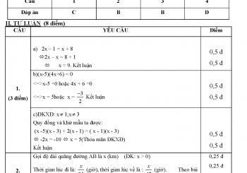 Đề cương ôn tập toán 8 học kì 2 có đáp án