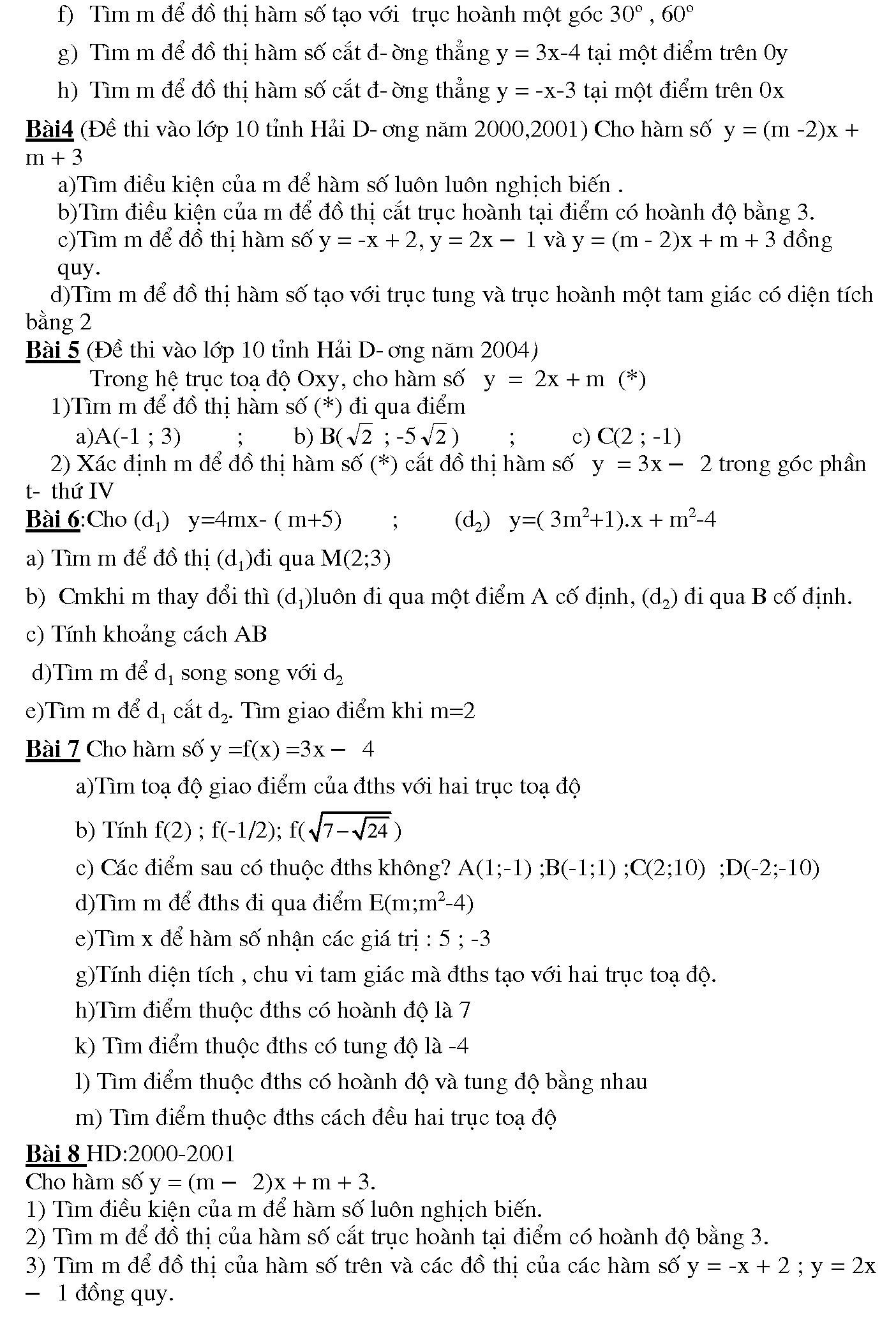 hàm số bậc nhất lớp 10 nâng cao