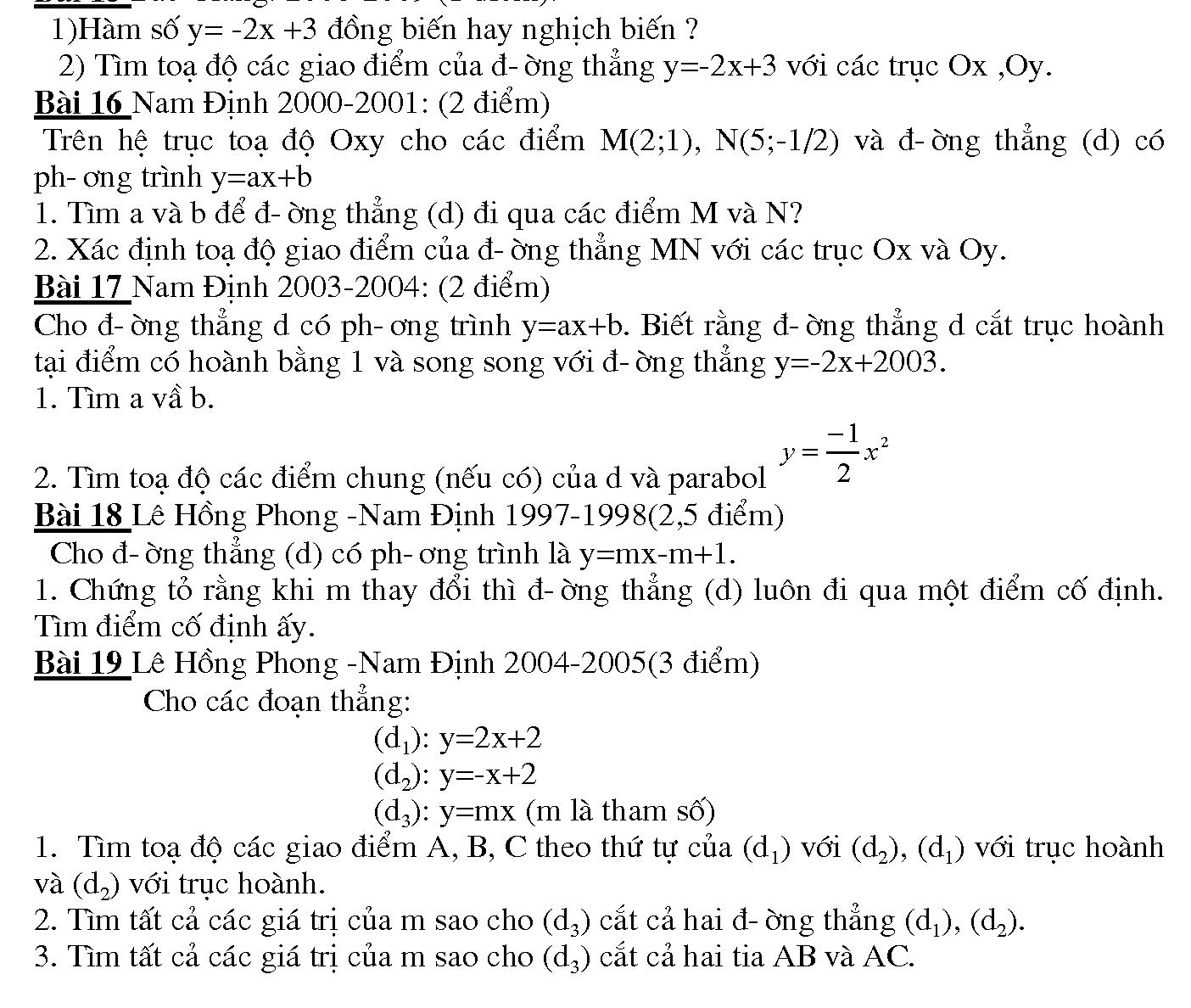 giải bài tập hàm số bậc nhất lớp 10