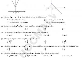 Trắc nghiệm tổng hợp hàm số bậc nhất lớp 10 có đáp án